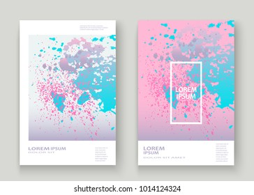 Pastel pink cyan explosion paint splatter artistic cover design. Fluid gradient dust splash texture background. Trendy creative template vector Cover Report Catalog Brochure Flyer Product
