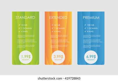 Pastel pricing table, banner, order, box, button, list and bullet with plan for website in flat design