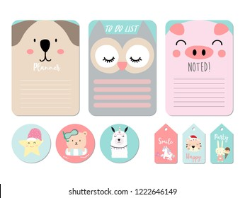 Pastel printable with bear,owl,pig,star,tiger,rabbit,unicorn in funny style.with wording thank you, birthday, party