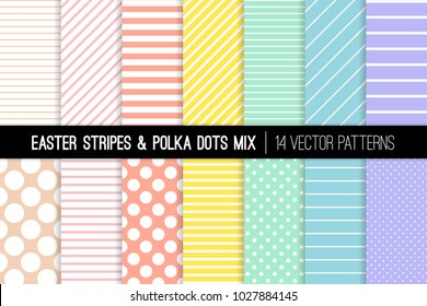 Pastel Rainbow Polka Dot and Stripes Vector Patterns. Easter Backgrounds in Pink, Blue, Yellow, Turquoise, Coral and Lilac. Modern Minimal Design. Repeating Pattern Tile Swatches Included.