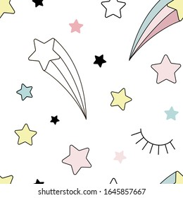 Pastel rainbow star seamless vector pattern. Cartoon magical starry sky background for kids. Unicorn fairy design for fabric paper surface print.