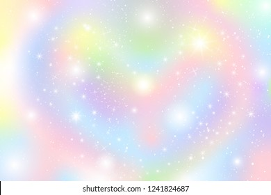 Pastel rainbow theme holographic circle bokeh cloud illustration. Colorful glow star on sky with falling snow abstract for christmas new year celebration vector.