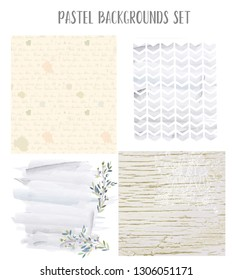Pastel retro backgrounds collection with flowers, letter, wooden texture. Vector graphic illustration
