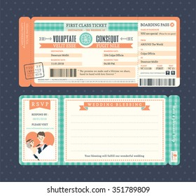 pastel retro boarding pass ticket wedding invitation template