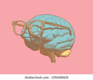 Pastel retro pop art engraving human brain with eye glasses illustration in side view isolated on pastel pink background