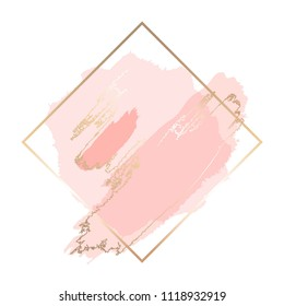 Pastel rose brush strokes in a contour golden square frame.