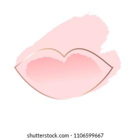 Pastel rose and white brush strokes. Gold lip contour.