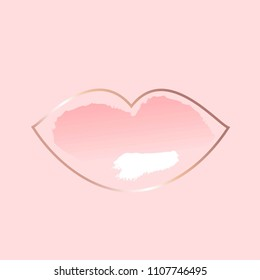 Pastel rose and white brush strokes in lip contour.