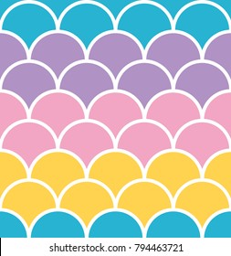 Pastel scale seamless pattern with white outline mermaid concept