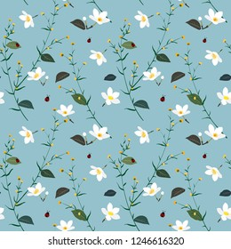 Pastel seamless pattern with wild flower on soft blue background,vector illustration