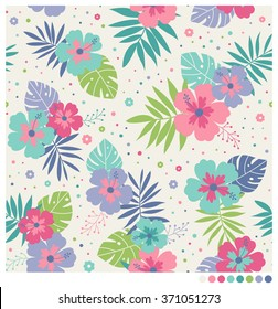 Pastel seamless vector pattern with hibiscus, leaves and dots