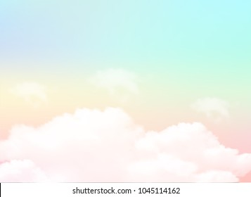 Pastel of sky and soft cloud abstract background. Vector illustration