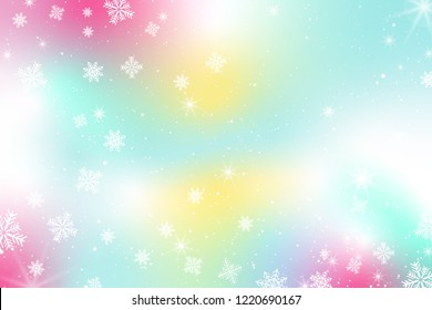 Pastel Snow Flake Glow Star Vector Background. Colorful Sky Holographic Cloud Rainbow Christmas New Year Celebration Illustration