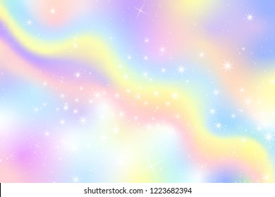 Pastel Snow Flake Glow Star Background. Colorful Sky Holographic Cloud Rainbow Christmas New Year Celebration Vector