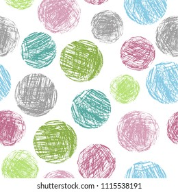 Pastel soft color colorful geometric circle forms seamless pattern. Hand drawing round artistic grunge stroke figure. Vector crayon, chalk or pencil sphere texture abstract background.