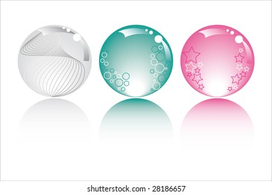pastel spheres in pastel colors with stars bubbles and fantasy