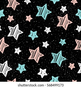 79ed61db6 Pastel star on black seamless background. Pink, white and blue star.  Abstract pattern