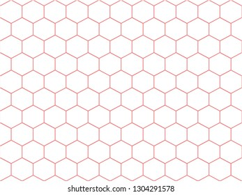 Pastel sweet pink line hexagon on white background like honeycomb texture pattern. Vector art design polygon in geometric concept. Vintage retro style wallpaper for valentine, textile and other.