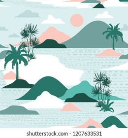 Pastel and sweet  silhouette of palm tree,beach,mountain on modern paper cut style seamless pattern vector design for fashion,fabric,and all prints on green mint  background