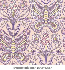 pastel and tender color palette. vector floral seamless pattern with abstract hand drawn butterflies