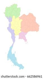 Pastel Thailand map on white background
