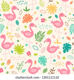 Pastel tropical summer seamless pattern with flamingo, tropical leaf and flower.