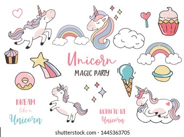 pastel unicorn set with unicorn,head,cupcake,rainbow,cloud,star.vector illustration for sticker,postcad,birthday invitation