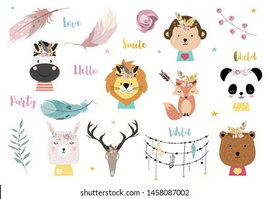 pastel unicorn set with unicorn,ice cream,cactus,caticorn,wreath illustration for sticker,postcad,birthday invitation
