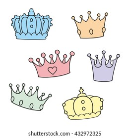 Pastel vector crown set isolated on white background