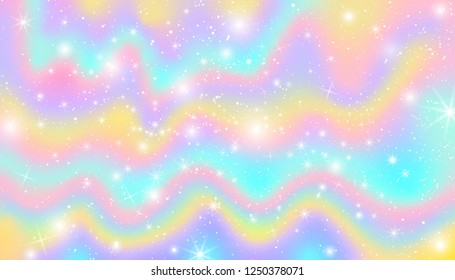 Pastel Wave Falling Snow Glow Star Background. Colorful Sky Holographic Cloud Rainbow Christmas New Year Celebration Vector