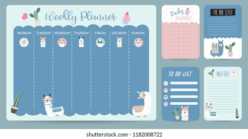 Pastel weekly calendar planner with llama,alpaca,cactus,glasses and cupcake