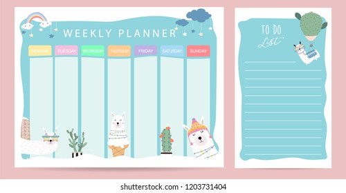 Pastel weekly calendar planner with llama,glasses,ice cream and cactus
