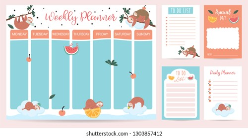 Pastel weekly planner with sloth,watermelon,orange and tree