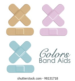 Pastels color band aids isolated ove white background. vector