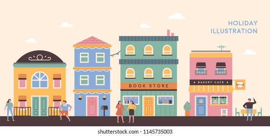 Pastel-ton European-style buildings and streets like the doll's house. flat design style vector graphic illustration set