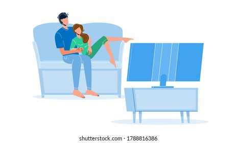 Pastime Couple Family Watching Tv Together Vector. Young Man And Woman Sitting On Couch And Watch Television Electronic Device, Passive Pastime. Characters Leisure Time Flat Cartoon Illustration