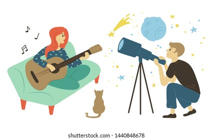 Pastime vector, isolated man and woman at home playing guitar. Hobby of person looking through telescope, male discovering planets and stars interest