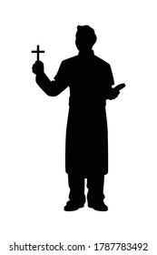 Pastor with christian cross and bible silhouette vector