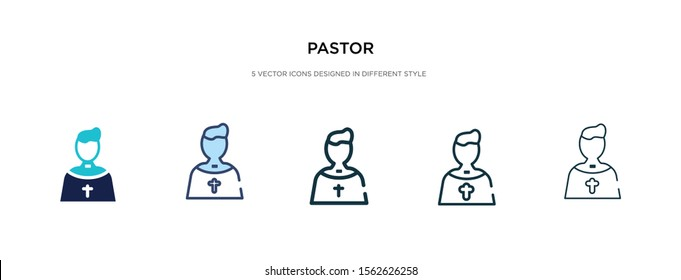 pastor icon in different style vector illustration. two colored and black pastor vector icons designed in filled, outline, line and stroke style can be used for web, mobile, ui