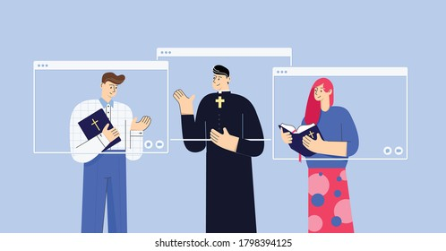 Pastor meets their congregation members online. Man and woman holding Holy Bible talk to the pastor remotely. Bible discussion. Isolated flat characters in messenger app window frames.