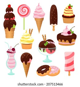 Pastries  cakes and ice cream icon set with an ice cream cone and lolly  cupcake  cake  cookies  donuts  milkshake  dessert and lollipop with icing  chocolate and cherries  vectors on white