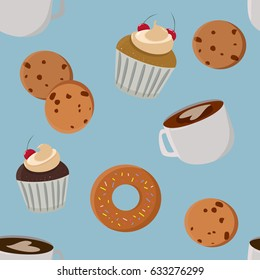 Pastries and coffee seamless background. Mugs, cookies and muffins seamless pattern.