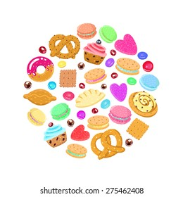Pastries, sweets and candies vector circle background (multicolored)