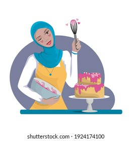 A pastry chef girl in a headscarf, of the Islamic faith, lovingly prepares a cake.