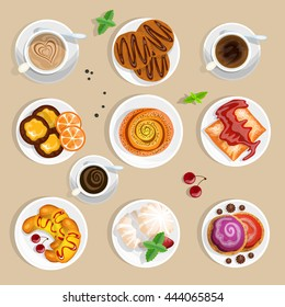 Pastry Coffee and Sweets Top View Set Cartoon solated Vector Illustration