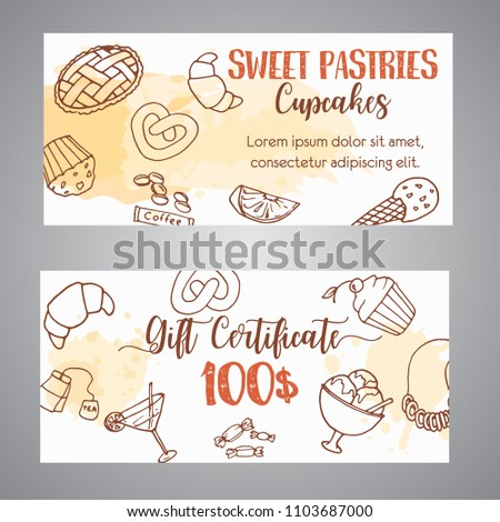 pastry gift voucher bakery horizontal banners stock vector royalty