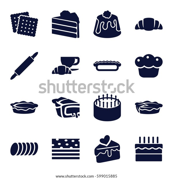 pastry icons set. Set of 16 pastry filled icons such as cookies, cake, coffee and croissant, croissant, pie, cake slice, cookie, dough pin