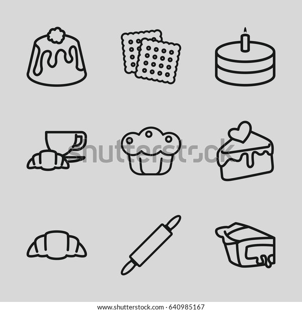Pastry Icons Set Set 9 Pastry Stock Vector (Royalty Free