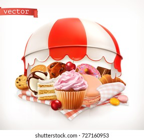 Pastry shop, confectionery. Sweet dessert. Cake, cupcake, donut, whipped cream, cookies. 3d realistic vector