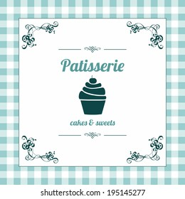 Pastry shop menu cover. Vector illustration